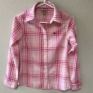 BURBERRY LONDON Plaid Button Front Blouse * SZ S